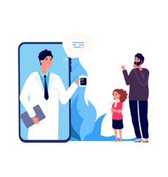 Doctor online sick girl father and nurse by vector
