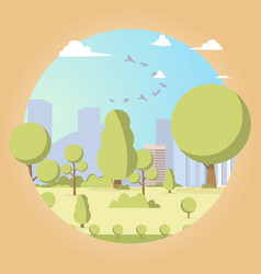 Drawing image the picturesque garden trees vector
