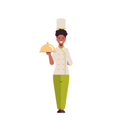 female professional chef cook holding covered vector image