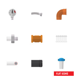 Flat icon plumbing set of radiator pressure vector