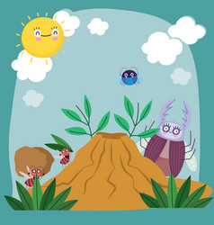 Funny ants bugs animals anthill foliage cartoon vector