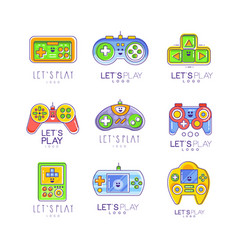 game gadget collection in line style colorful vector image