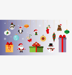 Gifts and toys christmas and new year sticker vector