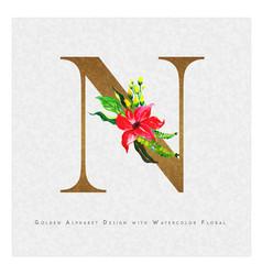 Golden letter n watercolor floral background vector