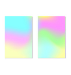 Gradient hologram backgrounds set of colorful vector
