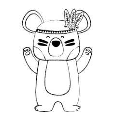 Grunge cute bear animal with feathers design vector