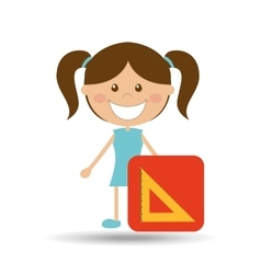 happy girl student school squad icon vector image