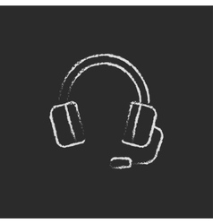Headphone with microphone drawn in chalk vector