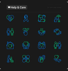help and care thin line icons set vector image