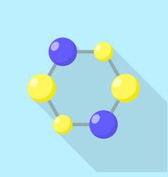 hexagonal molecule icon flat style vector image