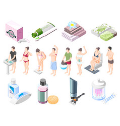 Hygiene isometric icons set vector