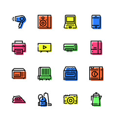 icons household appliances black with a color vector image