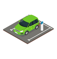 isometric electric car charging at the charger vector image