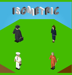 isometric person set of cleaner detective vector image