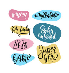 lettering photography family overlay set vector image