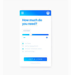Loan app mobile ui vector