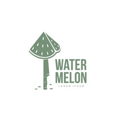 Logo template with stylized watermelon piece stuck vector