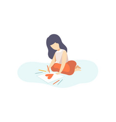 Lovely girl sitting on floor and drawing heart vector