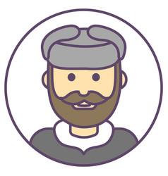 Man avatar in hat ushanka icon with beard vector