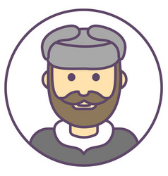 Man avatar man in hat ushanka icon man with beard vector