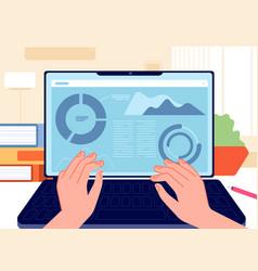 man work notebook marketing interface laptop vector image