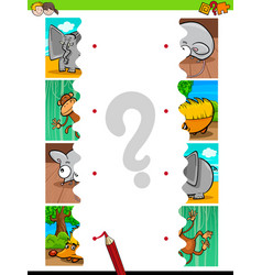 Match jigsaw puzzles educational activity vector