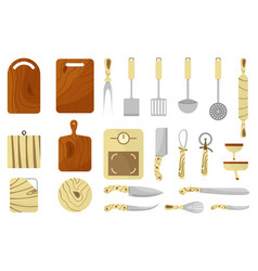 mega collection of various kitchen utensils vector image