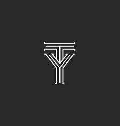 monogram initials ty yt letters logo design vector image