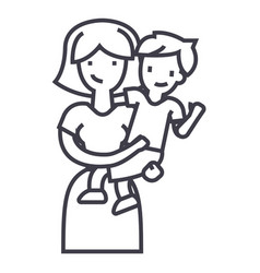 mother with sonmum with kid line icon vector image