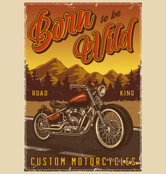 Motorcycle vintage colorful poster vector