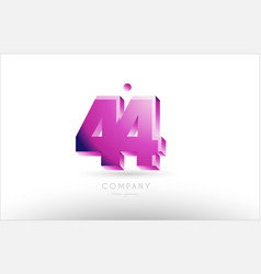 number 44 black white pink logo icon design vector image