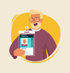 Office manager with id card businessman vector