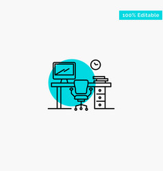 office space chair office table room turquoise vector image