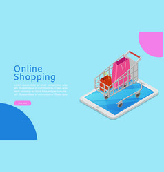 online shopping banner with isometric shop cart on vector image