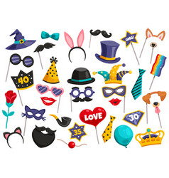 photo booth party icon set vector image
