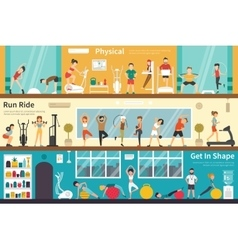 Physical Run Ride Get In Shape flat interior vector image