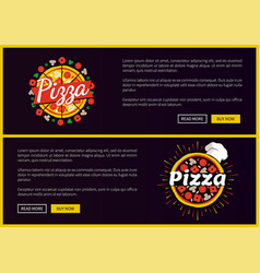 pizza restaurant promotional internet pages set vector image