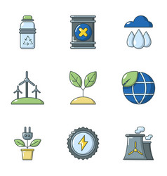 Pure air icons set flat style vector
