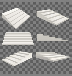 Realistic detailed 3d template blank white stairs vector