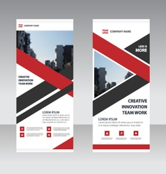 Red triangle Business Roll Up Banner template set vector