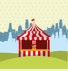 Salesman booth circus in the city image vector