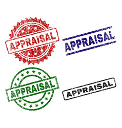 Scratched textured appraisal stamp seals vector