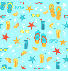 seamless background with bright summer symbols vector image