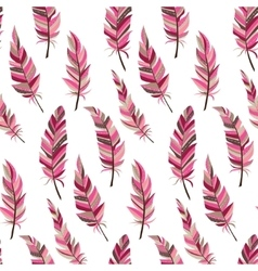 Seamless background with vintage feathers Boho vector