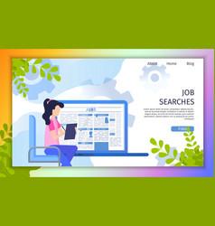searching job online service flat website vector image