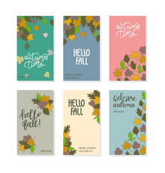 set abstract vertical background with autumn vector image