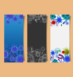 set banners with viruses and microbes vector image