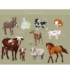 set different farm animals vector image