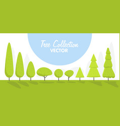 Set of abstract cartoon stylized trees natural vector