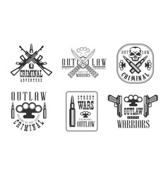 set of black and white emblems related to vector image